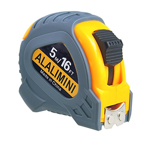 Alalimini Tape Measure 16Ft/5M Retractable Measuring Tape Metric Inches Ruler Magnetic Hook Belt Clip Holder Roller Metal Durable Measuring Tape for Construction, Home, Carpentry Measurement Tool