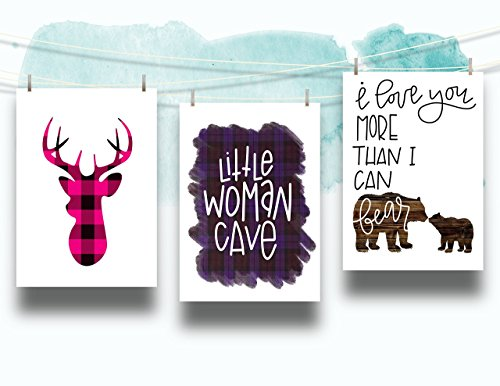 Three Piece Nursery Cardstock Prints 8.5 x11 Pink and Purple ''Woodland Animals'' by June & Lucy