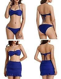 Women Push Up Vintage Swimsuit Bikini 3 Piece Set by NORA TWIPS(S-2XL)