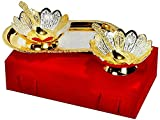Silver And Gold Plated Floral Shaped Brass Bowl And Tray Set