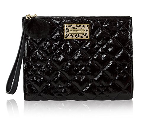 Lined Patent Leather Clutch - Betsey Johnson Clutch Black Faux Leather Insta-Famous Cosmetic Wristlet Bag
