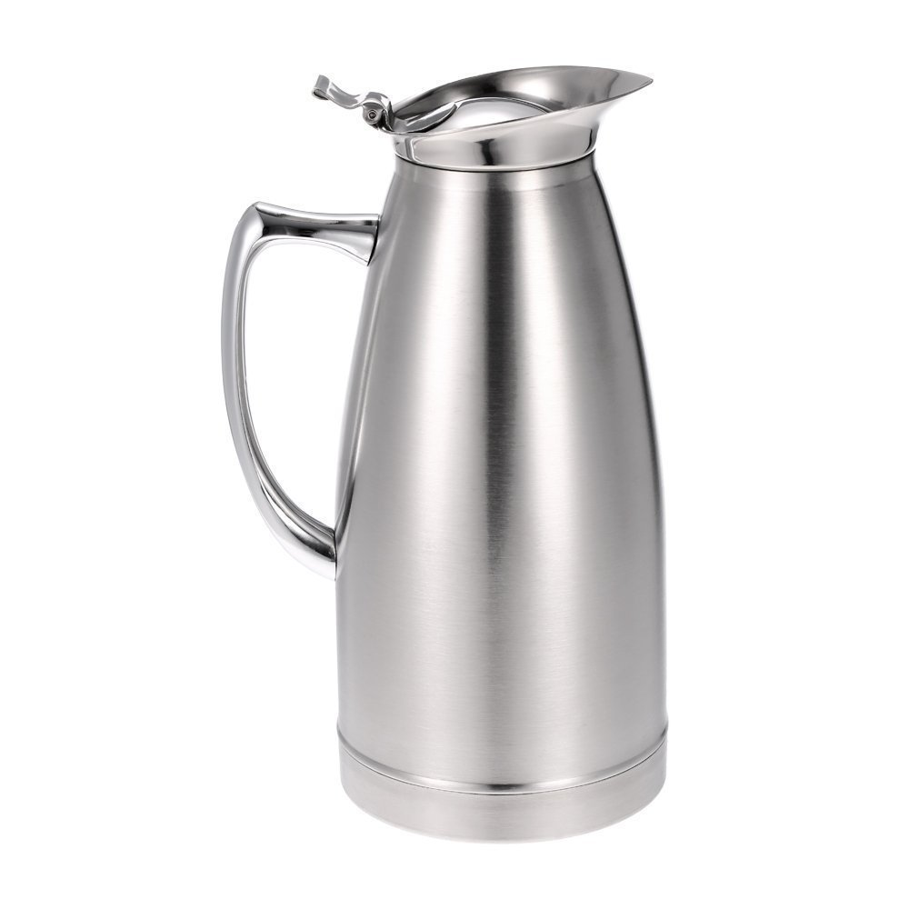1L/1.5L Stainless Steel Coffee Jug Double Walled Vacuum Insulated Thermal Silvery Thermo Jug SGerste
