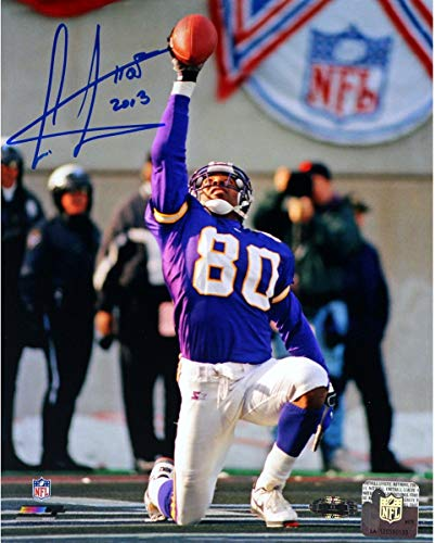 Cris Carter Vikings On Knee With Ball In Air Autographed Signed 8x10 Photo Withhof Insc. (Carter Photograph Cris)