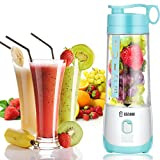 Electric Blender Mini Portable Personal Size Juicer Cup USB Rechargeable Mixer 400ml Food Grade Water Bottle Portable Fruit Juicer Machine by TECOOL - Sky Blue