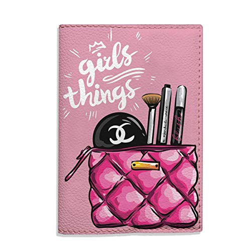 Girls things - travel Passport Holder eco - leather design pink cover for documents