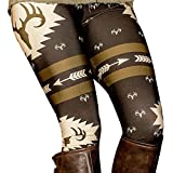 Perman Womens' Printed Stretchy Pants Skinny Leggings Pants (XL, Black)