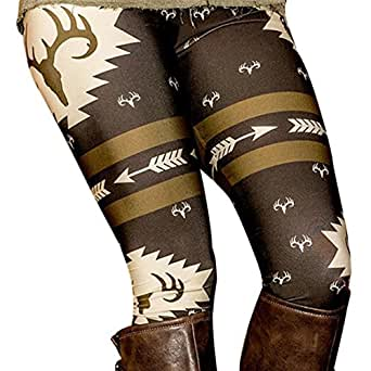 Perman Womens' Printed Stretchy Pants Skinny Leggings Pants (S, Black)