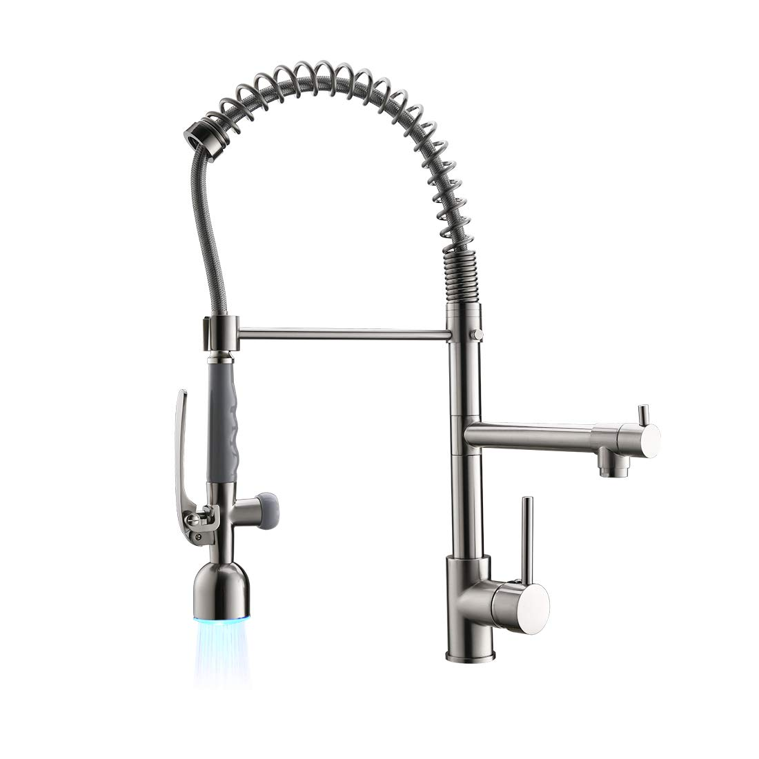 Fapully Commercial Single Handle Pull Down Sprayer Brushed Nickel Kitchen Faucet, Kitchen Sink Faucet with LED Light