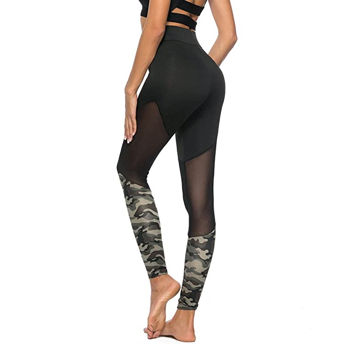 Pantalones Yoga Mujeres, Yusealia Cintura Alta Costura de Camuflaje ...