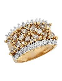 10k Yellow Gold White CZ Intricate Wide Band Ladies Wedding Anniversary Ring