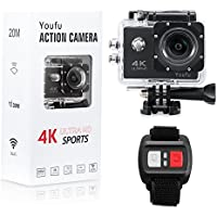 4K Action Camera HD 1080P WiFi Waterproof Mini Sport Cam 16MP Remote Control 100 Feet 30M 170 Degree Wide Angle, Rechargeable Battery, Waterproof, Swimming Skiing Diving Surfing Bike etc. Black