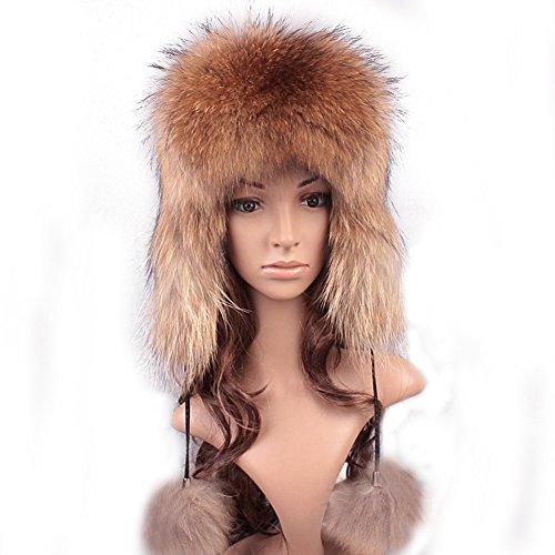 Fox Fur Aviator (Roniky Women's Real Fox Fur Russian Ushanka Trooper Hat Winter Fur Hat with Ear Flaps)