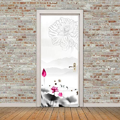 tonywu Pintura en Tinta Etiqueta de Puerta corredera renovada Sala de Estar Estudio Fondo Etiqueta de la Pared Imitación Puerta de Madera Decoración Papel Tapiz Cartel 77x200cm: Amazon.es: Hogar