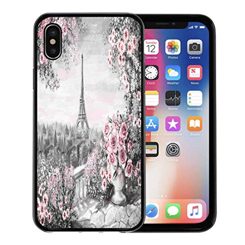 Semtomn Phone Case for Apple iPhone Xs case,Oil Painting Summer in Paris Gentle City Landscape Flower Rose and Leaf View From Above Balcony Eiffel for iPhone X Case,Rubber Border Protective Case,Black (Porch Balcony Above)