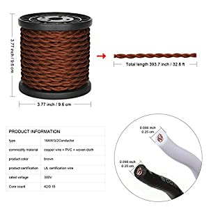[UL Listed] 32.8ft Twisted Cloth Covered Wire, Carry360 Antique Industrial Electronic Wire, 18-Gauge 2-Conductor Vintage Style Fabric Lamp/Pendant Cloth Cord Cable (Brown)