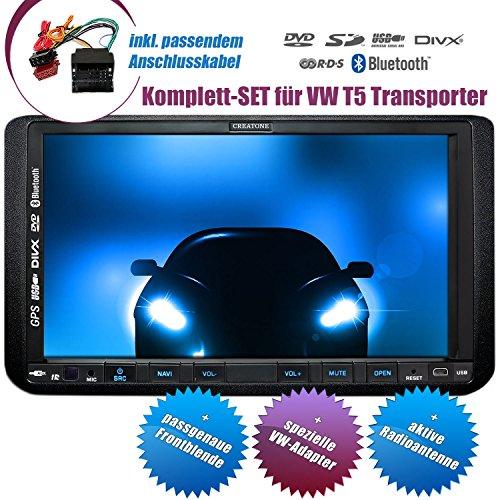 2DIN Autoradio CREATONE CTN-9268D56 für VW T5 Transporter (ab Facelift 09/2009) mit GPS Navigation, Bluetooth, Touchscreen, DVD-Player und USB/SD-Funktion