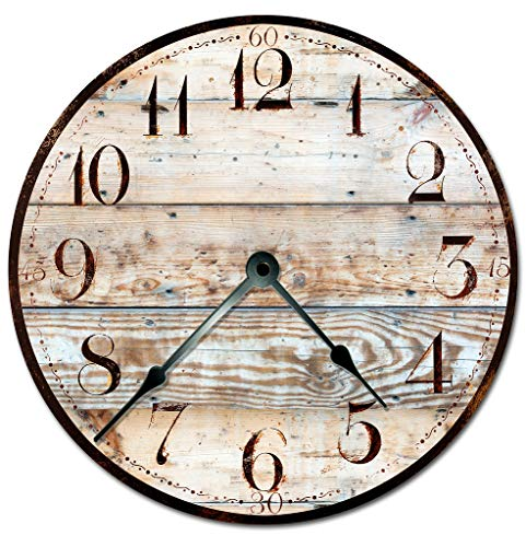 RUSTIC TAN WOOD CLOCK Extra Large 15.5 to 16 Wall Clock – Decorative Round Wall Clock – PRINTED WOOD IMAGE