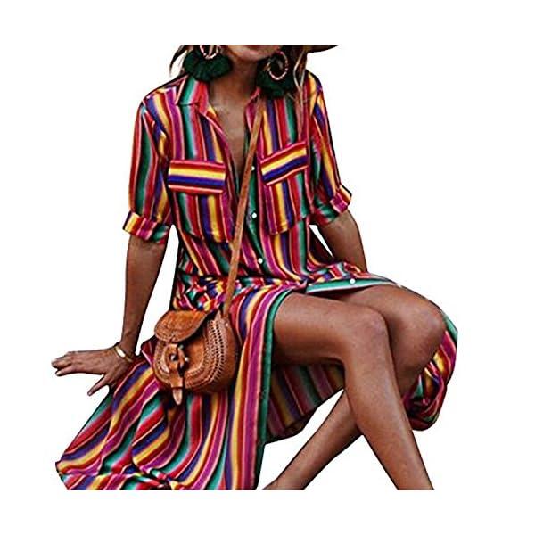 df0a9cc232c3 Womens Boho Maxi Dress Button Down Rainbow Stripes Long T Shirt Dresses  with Pockets. Published July 22