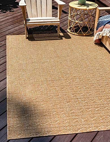 Brown Striped Rug - Unique Loom Outdoor Modern Collection Striped Casual Transitional Indoor and Outdoor Flatweave Light Brown  Area Rug (2' 2 x 3' 0)