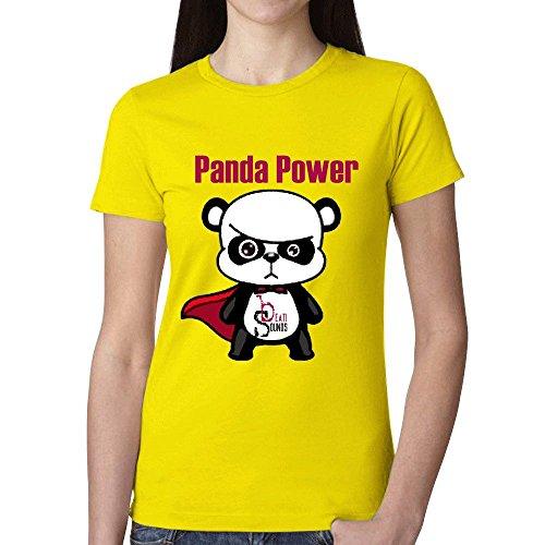 (Panda Power Women T Shirt Yellow)