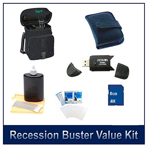 Special Digital Camera 6 pc Accessory Kit 8GB SD Card & Reader Deluxe Carry Case Lens Cleaning Kit Deluxe Gadget Bag for Olympus Sony Canon Fuji Nikon Digital Cameras Memory Card Wallet by Special