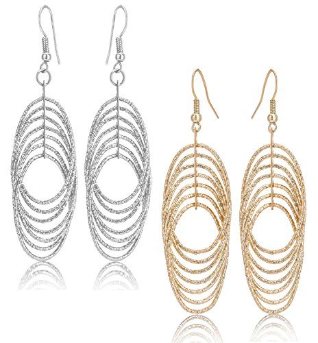 Drop Dangle Earrings Set For Women Teen Jewelry Plate in Silver And Gold Diamond Cut 2 Pairs (GL1: Oval Dangle (2 Dangle Earrings Jewelry)