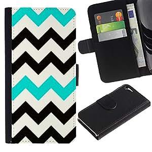Patrón del trullo Negro Blanco Limpio- la tarjeta de Crédito Slots PU Funda de cuero Monedero caso cubierta de piel Para Apple iPhone 5 / iPhone 5S