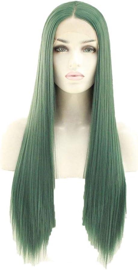Perruque XinQuan Wang Grass avec dentelle verte (couleur : 55,9 cm) 61 cm.
