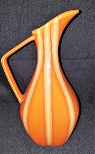 (VINTAGE 1959 HULL POTTERY #56 CONTINENTAL EWER PERSIMMON ORANGE GLAZE PITCHER)