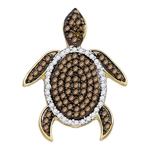 (Sonia Jewels 10k White Gold Round Chocolate Brown Diamond Sea Turtle Tortoise Pendant (1/3 Cttw) )