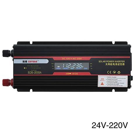 Inversor De Energ/ía Convertidor universal 12V a 220V del inversor de la energ/ía solar 6000W del coche de 12V 24V Convertidor del Coche