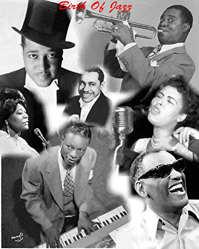 11 x 14 Inch Puzzle African-American Legends of Jazz at King Cole Duke Ellington Louis Armstrong Writes Riles Oil Painting in Black and White