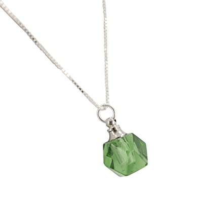 Amazoncom Faceted Green Glass Essential Oil Diffuser Necklace On
