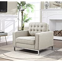 Iconic Home FCC2941-AN Linen Modern Contemporary Button Tufted Square Arm Silvertone Straight Leg Club Chair, Taupe