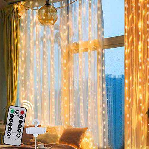 Curtain Lights, AJIJING 300 LED 8 Modes Hanging LED Curtain Lights for Bedroom,9.8×9.8 Ft Remote Control USB Powered Waterproof Christmas Fairy String Lights for Outdoor,Wedding,Party,Home Decorations