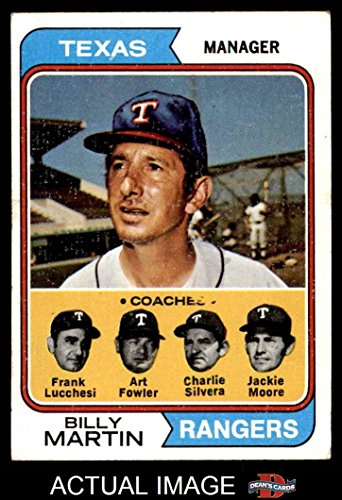 1974 Topps # 379 Rangers Leaders Billy Martin / Art Fowler / Frank Lucchesi / Jackie Moore / Charlie Silvera Texas Rangers (Baseball Card) Dean's Cards 6 - EX/MT Rangers