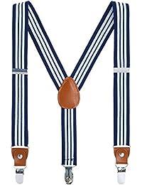 Children Boys Kids Adults Suspenders - Sturdy Metal Clips Genuine Leather suspender