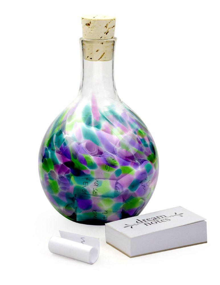 Modern Artisans Sweet Dream Wish Bottle, American Made Hand-Blown Glass (Green Violet) by Modern Artisans