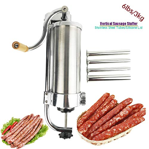 GJCKMKM 3L/6Lbs Vertical Sausage Stuffer Filler Sausage Filling Machine Manual Stainless Steel Kitchen Meat Tool Tubes Sausage Maker