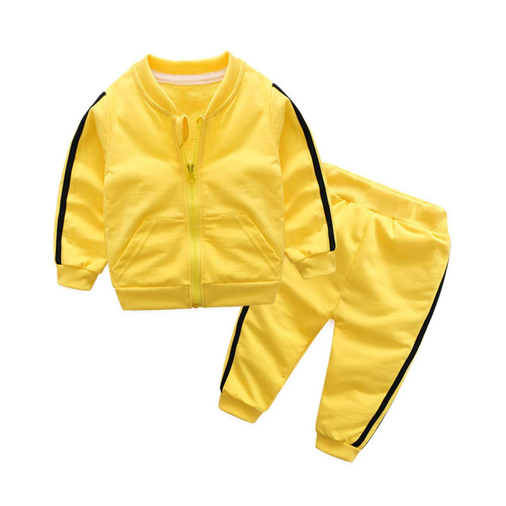 ❤️❤ Set di Vestiti per Costumi Culater 2018 ❤️❤ Bambina Bambino Top con Cappuccio e Giacca Invernale con Cappuccio e Cerniera Top 0-6 Mesi, Giallo Pantaloni