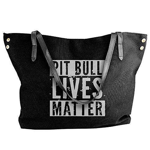 Tote Canvas MATTER Messenger Shoulder Large Women's Handbag LIVES Black PITBULL Bags w4ndEHdUPq
