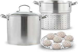 Stainless Steel Pasta Pot Cooker Steamer Pot, 9 Quart Steaming Cookware Boiler Set with Steamer Basket and Glass Lid