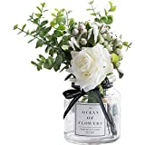 Ins Style Vase with Artificial Flower Set 1 Piece Fake Rose Berry Leaf Floral Flower Arrangement Glass Rose (White S)
