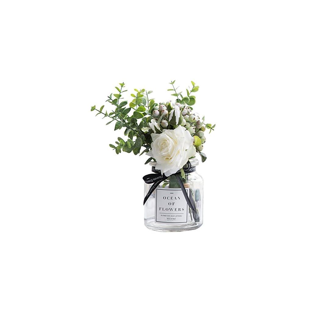 Ins-Style-Vase-with-Artificial-Flower-Set-1-Piece-Fake-Rose-Berry-Leaf-Floral-Flower-Arrangement-Glass-Rose
