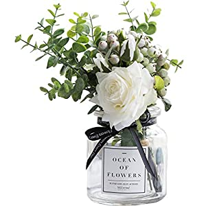 Ins Style Vase with Artificial Flower Set 1 Piece Fake Rose Berry Leaf Floral Flower Arrangement Glass Rose (White S) 36