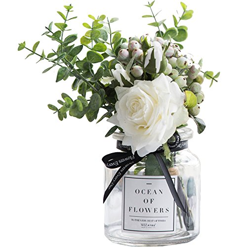 Ins Style Vase with Artificial Flower Set 1 Piece Fake Rose Berry Leaf Floral Flower Arrangement Glass Rose (White ()