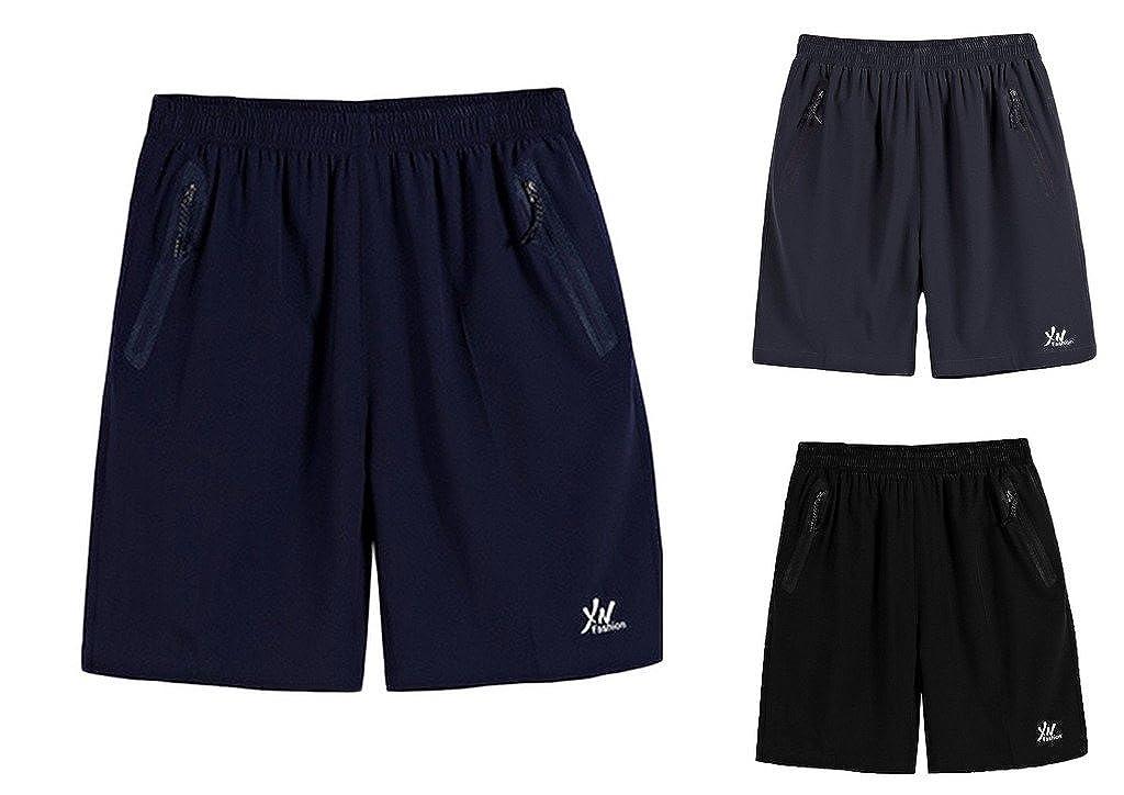 Jixin4you Men Plus Size Elastic Band Outdoor Sports Summer Beach Shorts