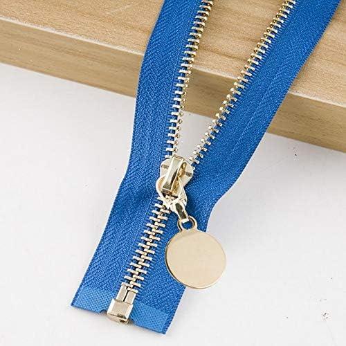 Houer Cremallera Acolchada Acolchada de Metal Chaqueta Desmontable Falda de Cuero Tapeta Accesorio de Prenda, Azul, Diente Dorado