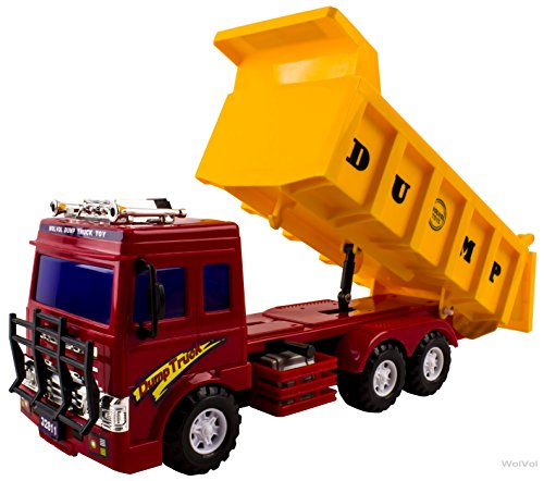 (WolVol Big Dump Truck Toy for Kids - Solid Plastic Heavy Equipment Vehicle Toy - Ideal Gift Idea for Kids Boys & Girls (Heavy Duty))