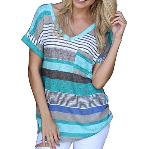 Masterein Femmes  Encolure en V ray  Manches Courtes T-Shirt  Poches Chemisier T-Shirts Top vert